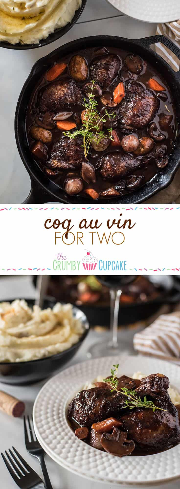 No fear - this classic Coq Au Vin recipe is not nearly as difficult as you might think! Wine-marinated chicken, onions, mushrooms, and carrots are slow simmered in a deliciously rich French red wine sauce, and will be the highlight of your week at the dinner table!