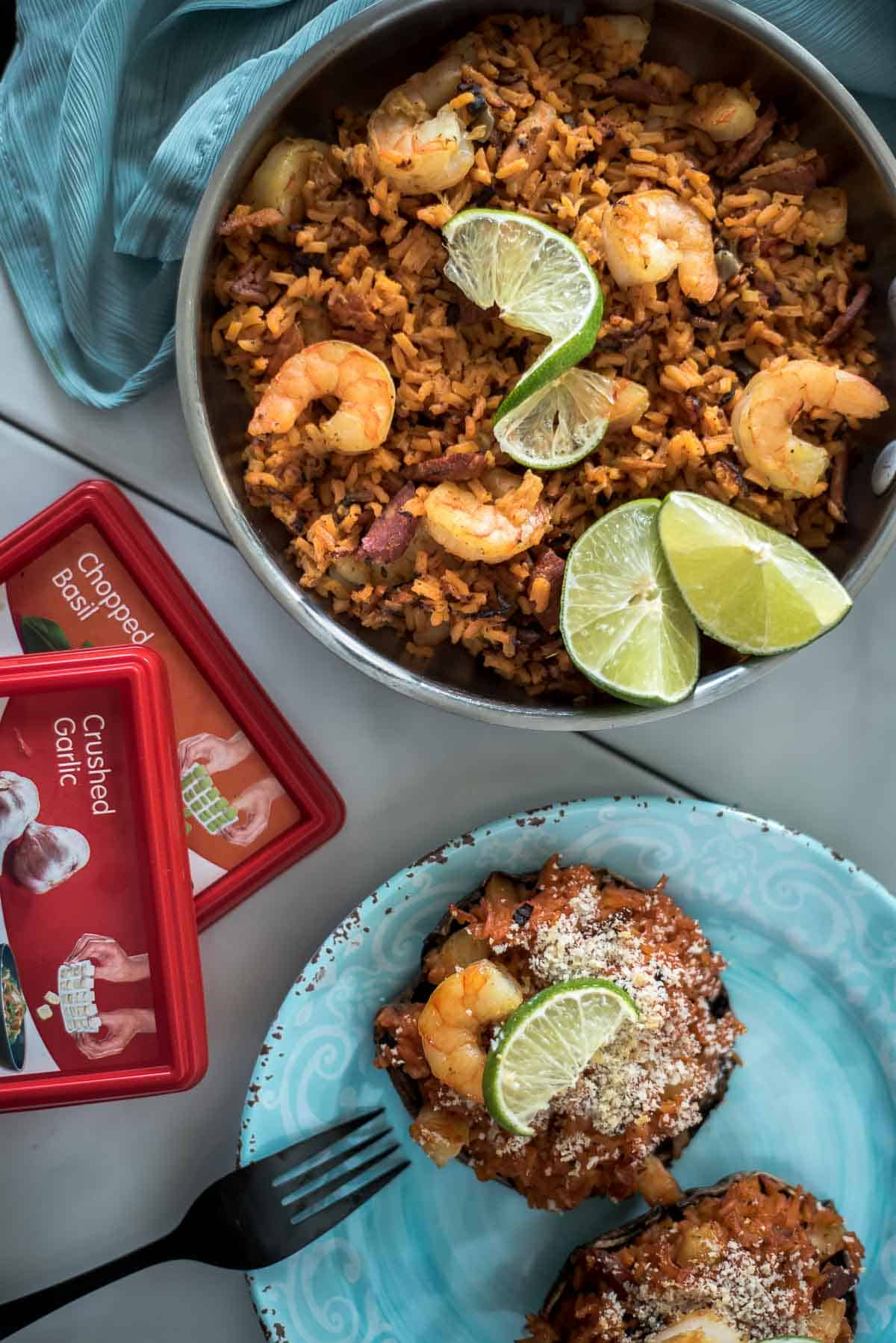 Jazz up your weeknight dinner with these Easy Paella Stuffed Portobello Mushrooms! Perfect 30-minute shrimp & chorizo paella baked inside giant, satisfying mushroom caps is a great way to increase veggies and decrease starches.