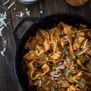 Elevate an easy entree with an equally easy homemade Roasted Red Pepper Pesto Pasta! Pappardelle is a wonderful, hearty choice, but subbing in your favorite noodle will also produce delicious results!