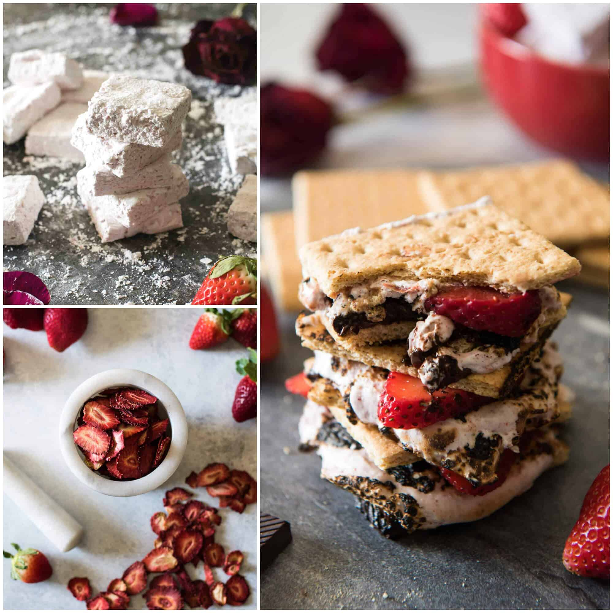 Strawberry S'mores - because winter s'mores are totally a thing! Take these classic treats up a notch by replacing the store-bought standard with homemade strawberry marshmallows, made from dehydrated Florida strawberries!