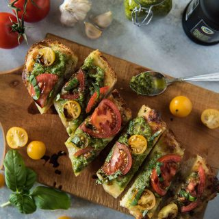 Caprese Garlic Bread with Arugula Pesto