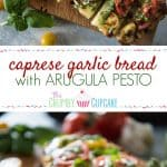 Whether you pair it with your favorite pasta dish or call it dinner by itself, this Caprese Garlic Bread with Arugula Pesto will please the palate of any lover of Italian cuisine!