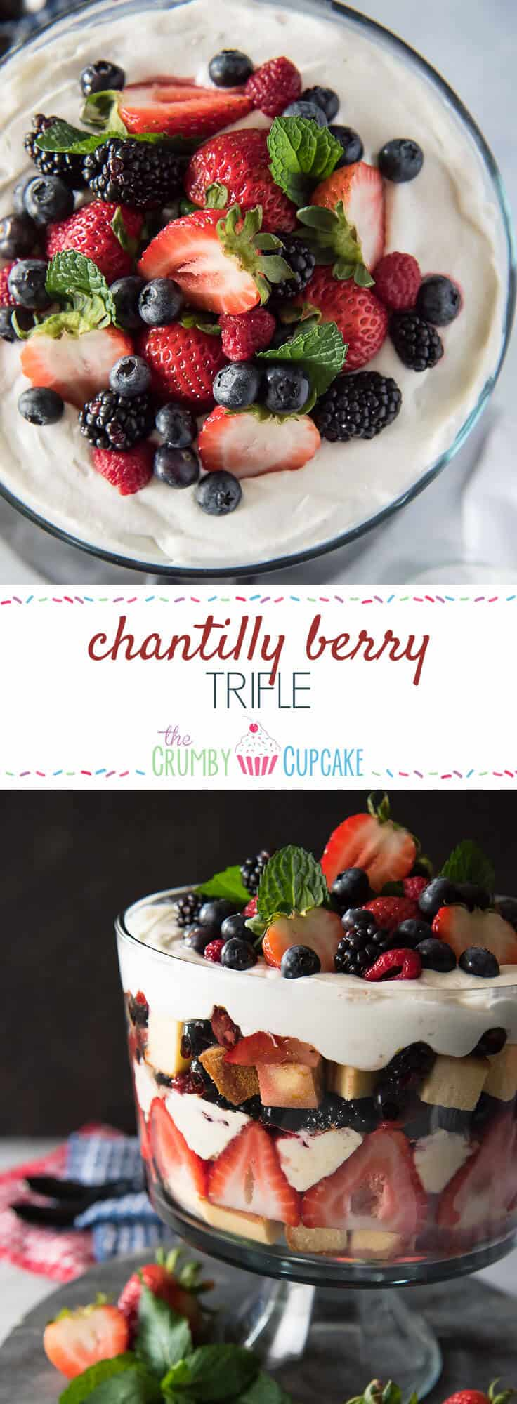 This Chantilly Berry Trifle is a real crowd pleaser! Pound cake, cheesecake filling, whipped cream, and berries marinated in raspberry liqueur make up the layers of this dessert, which is almost too pretty to eat!
