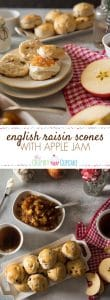 Perfect for brunch or as part of your afternoon tea time, these English Raisin Scones with Apple Jam are slightly sweet, fluffy, unique version of the popular British pastry.