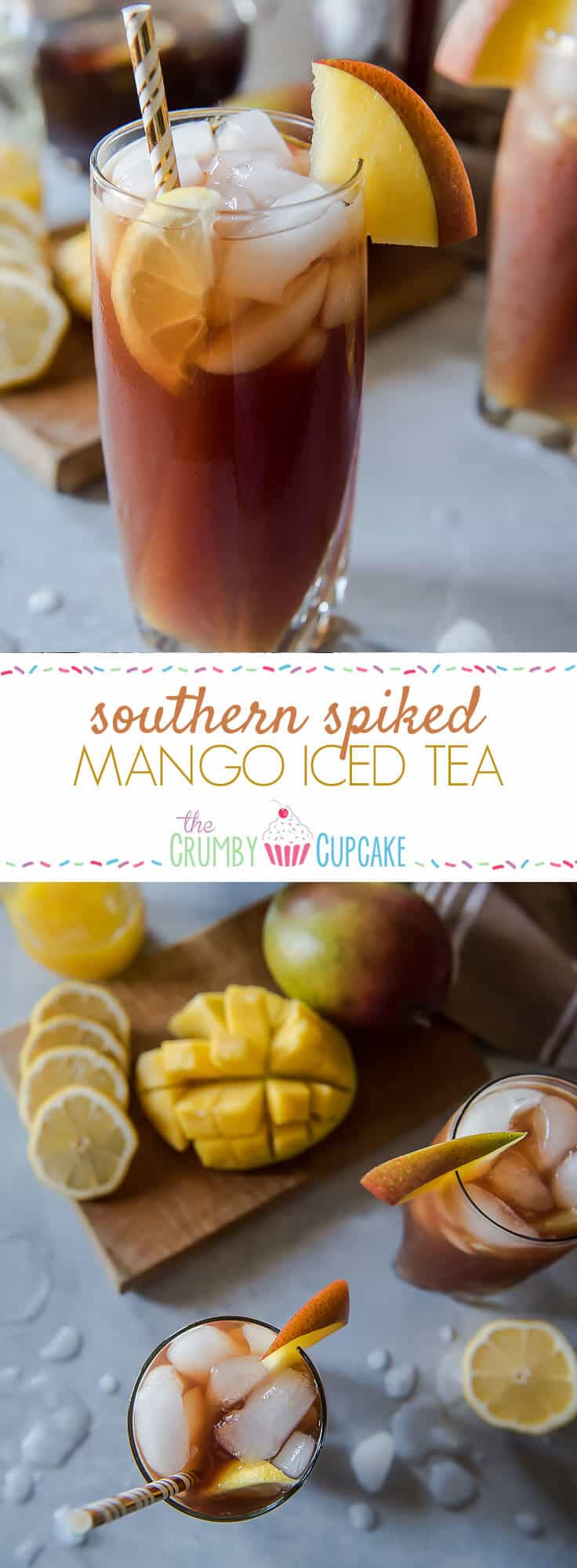 Change up your brunch beverage game with this Southern Spiked Mango Iced Tea! Arnold Palmer-style lemon iced tea combined with homemade mango nectar and a shot of your favorite bourbon is a tasty tropical, Southern way to cool down a balmy morning meal.