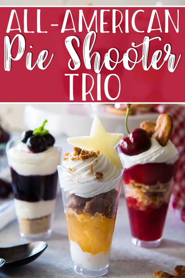 Celebrate your Independence - from plates! This tasty All-American Pie Shooter Trio has all your favorite patriotic flavors covered - apple streusel, blueberry cheesecake, and classic cherry. And the best part? All you need is a spoon to enjoy them, making them perfect for every summer party!