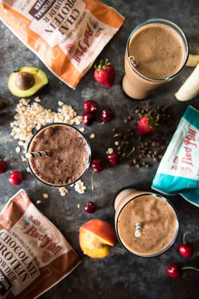 Start your day strong! These three very different protein breakfast smoothies recipes are all equally packed full of vitamins, minerals, fiber, & probiotics - but more importantly, they taste like dessert!