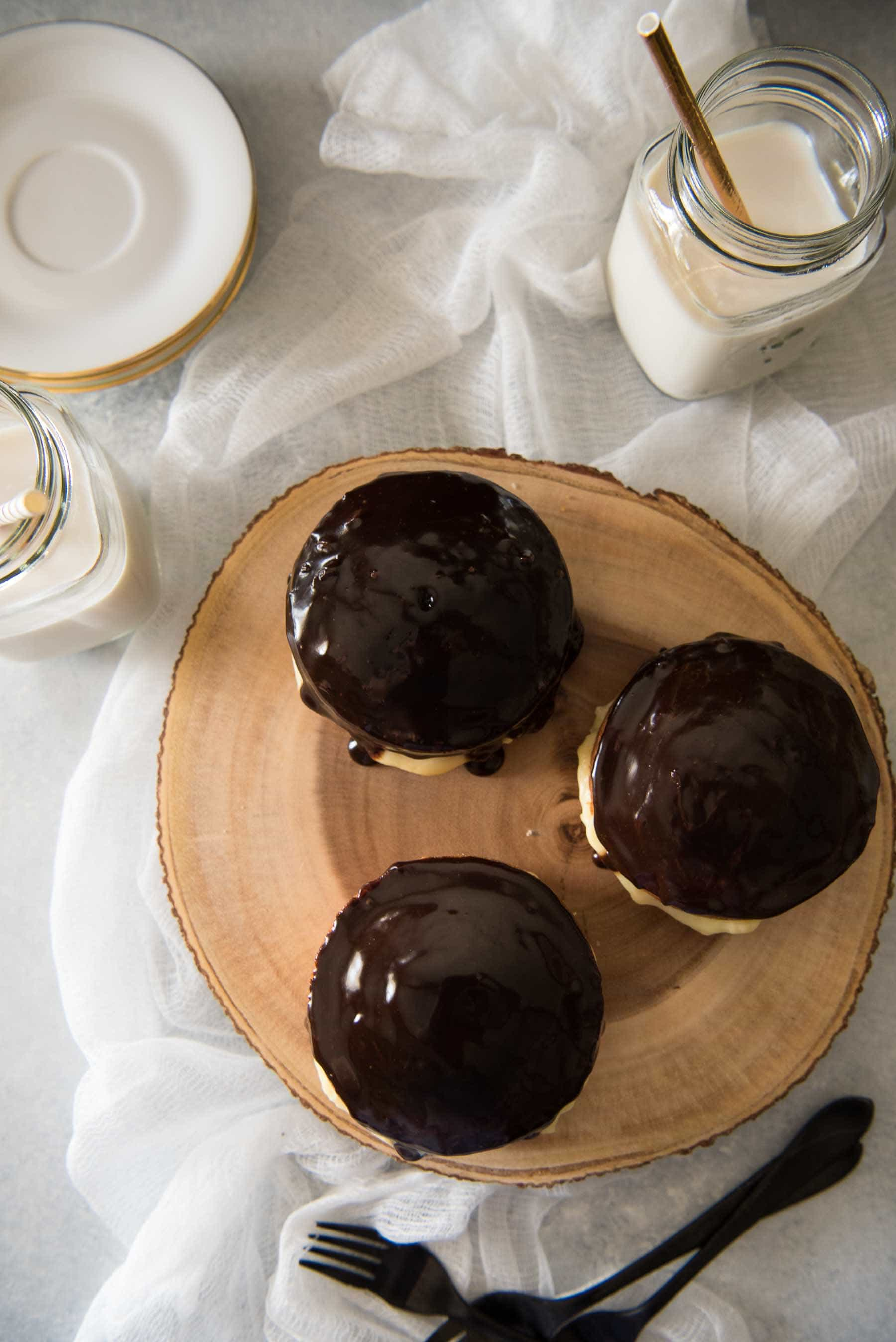 There's nothing quite like a classic Boston Cream Pie...since it's actually a cake! Rich, thick pastry cream is sandwiched between two layers of buttery yellow cake, then topped with a dark chocolate glaze.