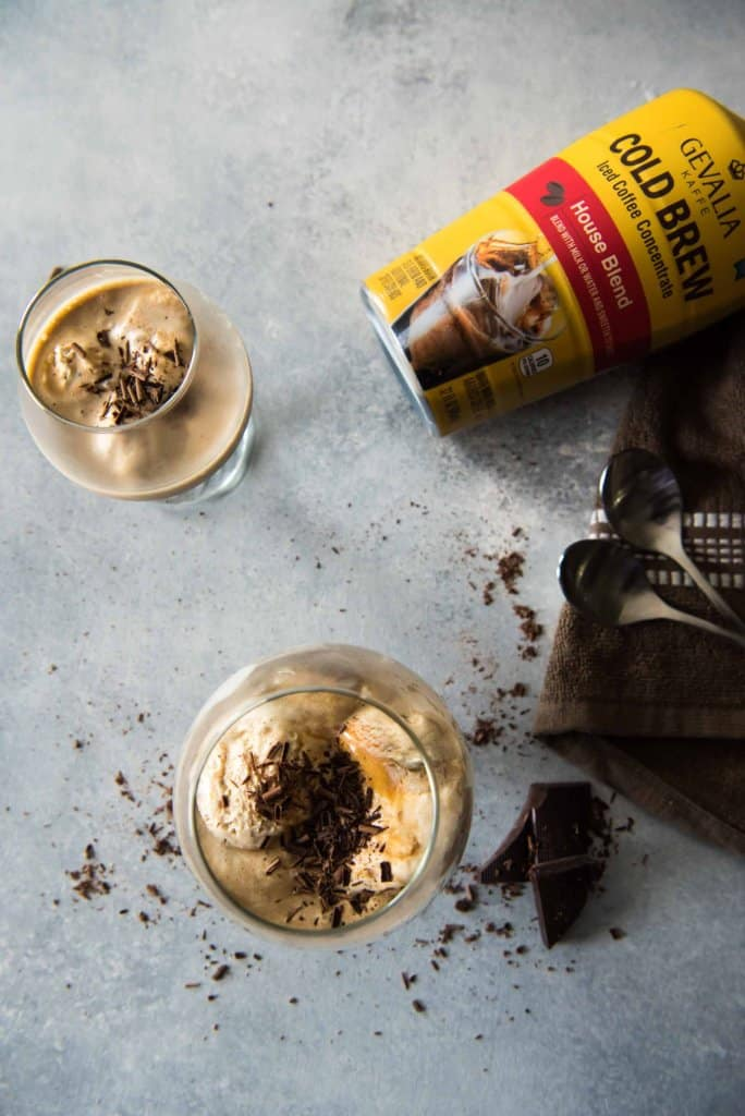 This Salted Caramel Cold Brew Affogato is a treat meant for summer! Cold brew coffee keeps the ice cream from melting quickly, leaving you time to truly enjoy this invigorating java dessert!