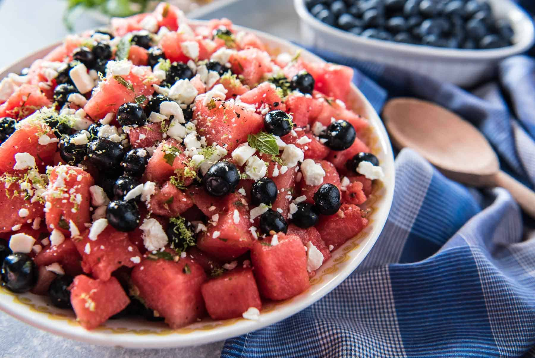 A bit of sweet, a little tart, and a touch of savory, this Blueberry Watermelon Salad is a delightful addition to any summer picnic! Fresh blueberries & watermelon play nicely with lime, feta, and refreshing mint.