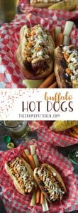Summer grilling with a kick! Top your Buffalo Hot Dogs with shredded Buffalo chicken, zesty Buffalo mayo, chopped celery & carrots, and blue cheese (or Feta for BCHaters) for a change of pace in your hum-drumdog game!