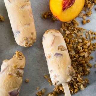 Caramel Peach Crisp Ice Cream Pops