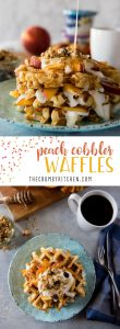 These deliciously easy Peach Cobbler Waffles with Honeyed Yogurt should be on your breakfast menu this weekend! Buttermilk waffles, lightly sweetened with yogurt & fresh peaches, then stacked and topped with honeyed yogurt and granola - nothing says summer quite like these!