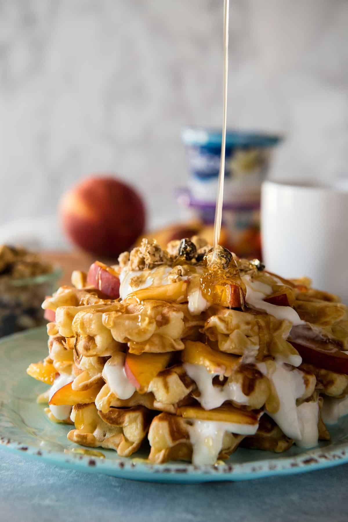 Peach Cobbler Waffles with Honeyed Yogurt