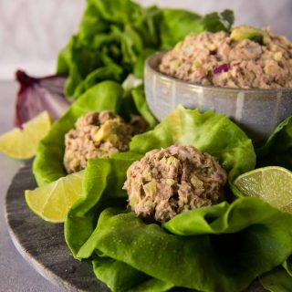 Low-carb and keto-friendly,  these Tuna Salad Lettuce Wraps are a bright and refreshing meal option for when you're craving a sandwich but don't want the bread! Plus, they're super portable and convenient for any picnic, BBQ, or potluck party.