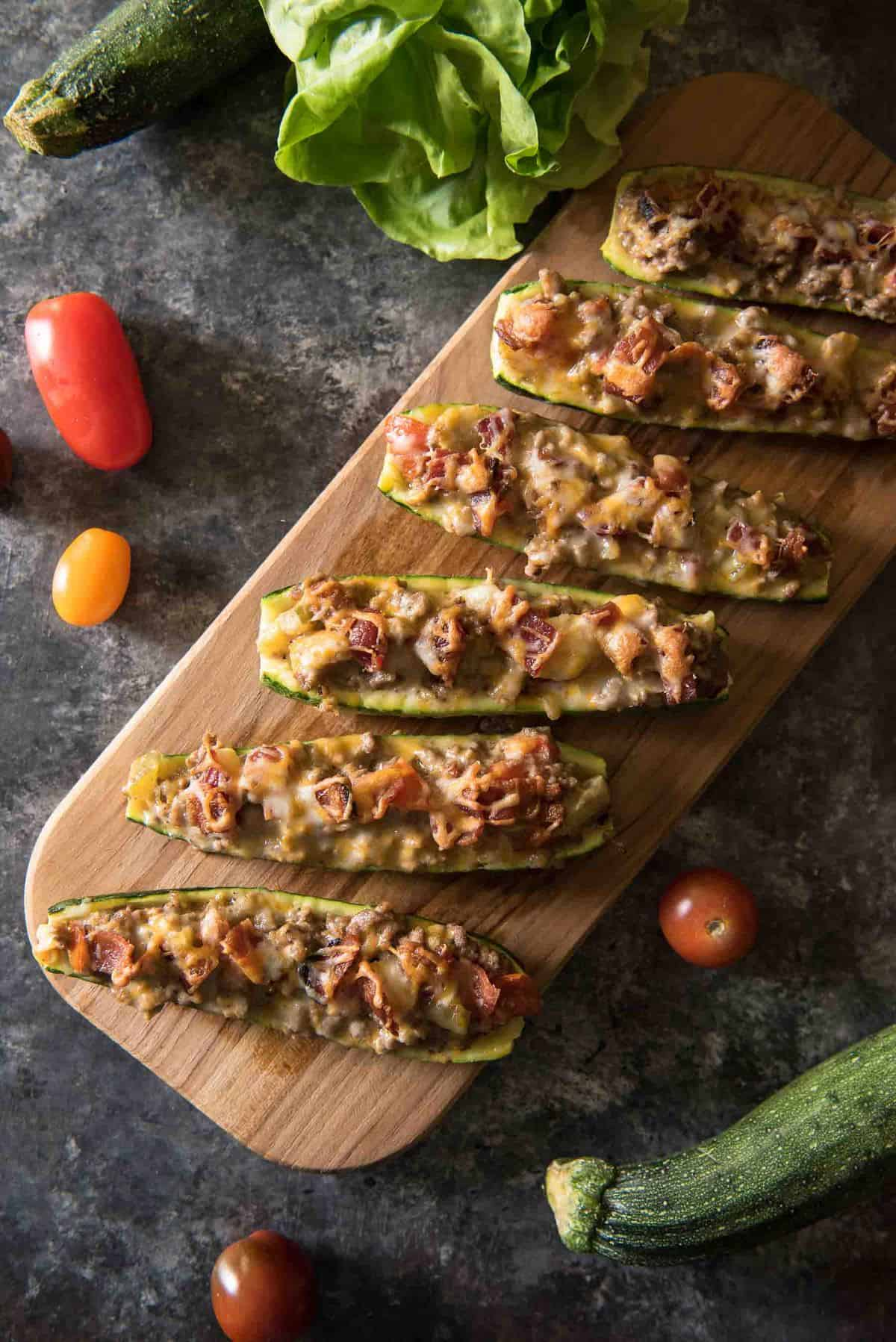 Bacon Cheeseburger Zucchini Boats #SundaySupper