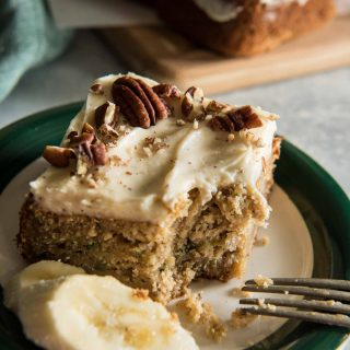Bridging the gap between summer and fall, this Chai-Spiced Banana Zucchini Cake is ridiculously moist and full of flavor. Don't skimp on the brown butter cream cheese icing - it will be your new fave!
