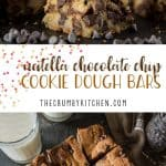 Not a cookie, not a brownie: theseNutella Chocolate Chip Cookie Dough Bars are the softest, chewiest, gooey-est best of both worlds!