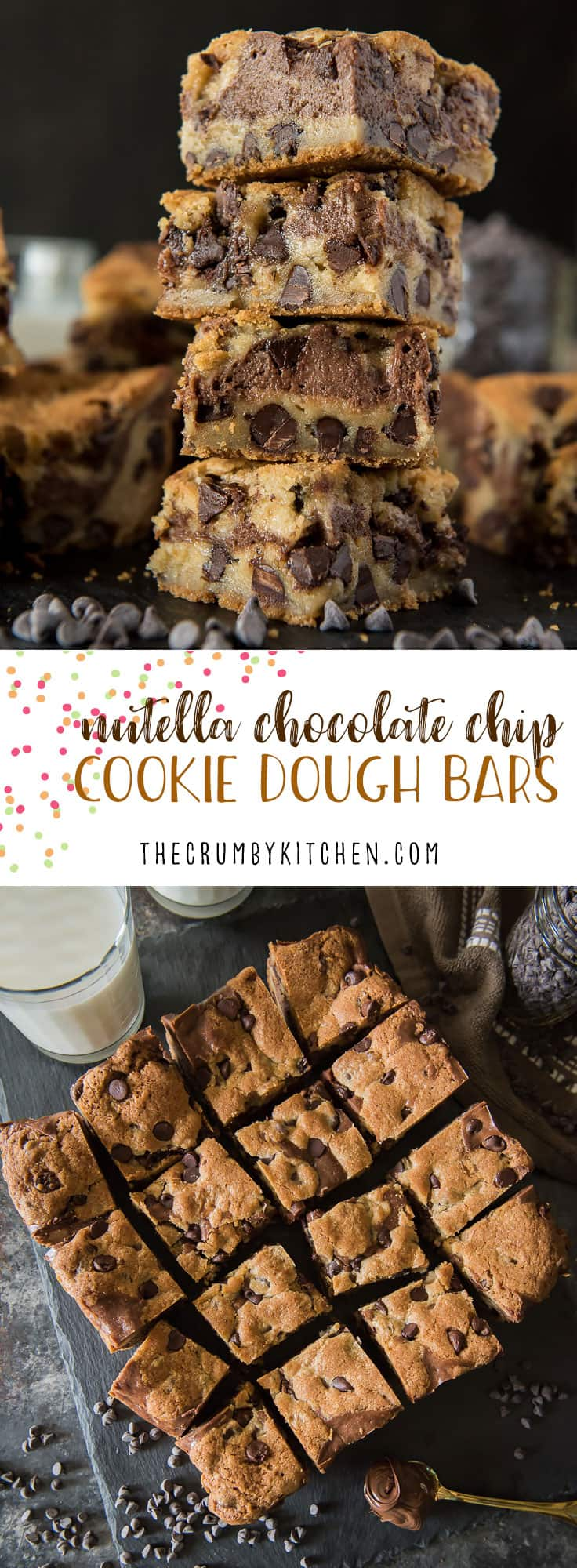 Not a cookie, not a brownie: these Nutella Chocolate Chip Cookie Dough Bars are the softest, chewiest, gooey-est best of both worlds!