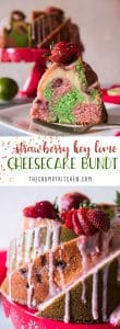 Strawberry Key Lime Cheesecake Bundt Cake! Alternating swirls of fresh strawberry pound cake and key lime pound cake layered with cheesecake filling, then drizzled with a tasty cream cheese glaze.
