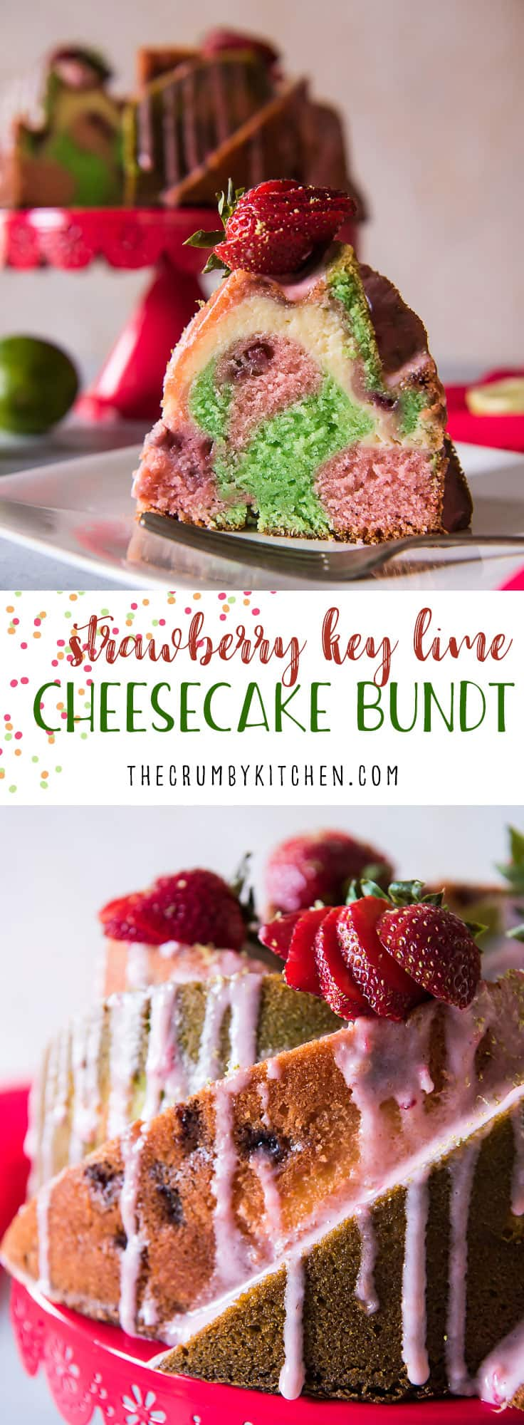 Strawberry Key Lime Cheesecake Bundt Cake! Alternating swirls of fresh strawberry pound cake and key lime pound cake layered with cheesecake filling, then drizzled with a tasty cream cheese glaze.