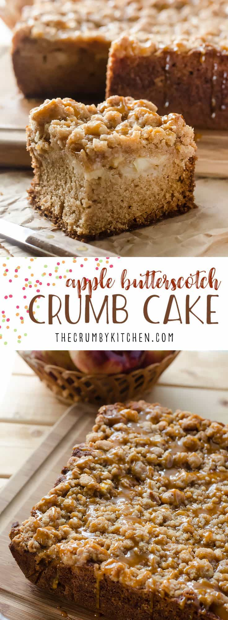 Classic crumb cake with an autumn twist! This sweet Apple Butterscotch Crumb Cake is loaded with apples, then drizzled with homemade butterscotch sauce that you're going to want to put on everything!