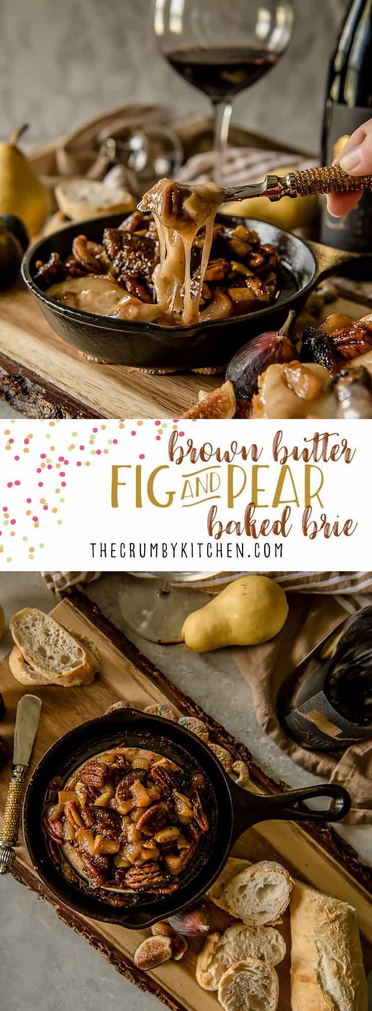 This creamyBrown Butter Fig & Pear Baked Brieis both elegant and comforting, and is sure to be the hit of any holiday or cold weather party! Figs, pears, pecans, and a little sweetness bring out the best in your favorite soft cheese.
