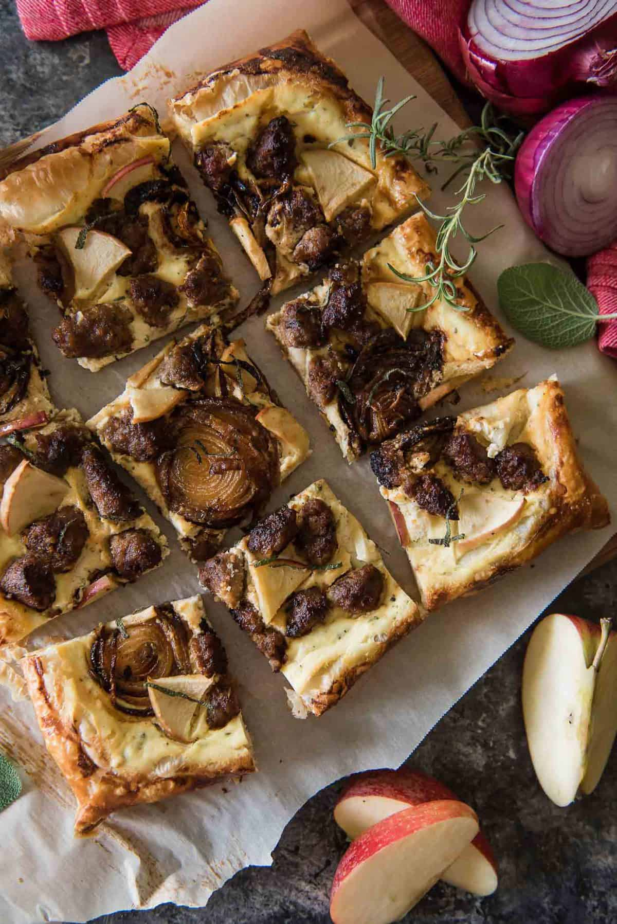 Savory Apple Sausage Tart