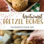 Sweet & Spicy Bratwurst Pretzel Bombs: fluffy balls of baked pretzel dough, filled with chopped bratwurst, cheese, diced fresh jalapenos, and caramelized onions. Homemade beer cheese dip will make these everyone's fave appetizer!