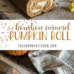 A fall treat with a boozy twist! This tender Bourbon Caramel Pumpkin Roll is filled with caramel cream cheese that's been kissed with bourbon whiskey, then drizzled with more caramel for good measure!
