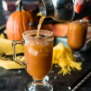 "Who says adults can't enjoy Harry Potter?! This ""Grown Up"" Potter Pumpkin Juice cocktail spikes Hogsmeade's popular drink with bourbon whiskey, Slytherin style!"