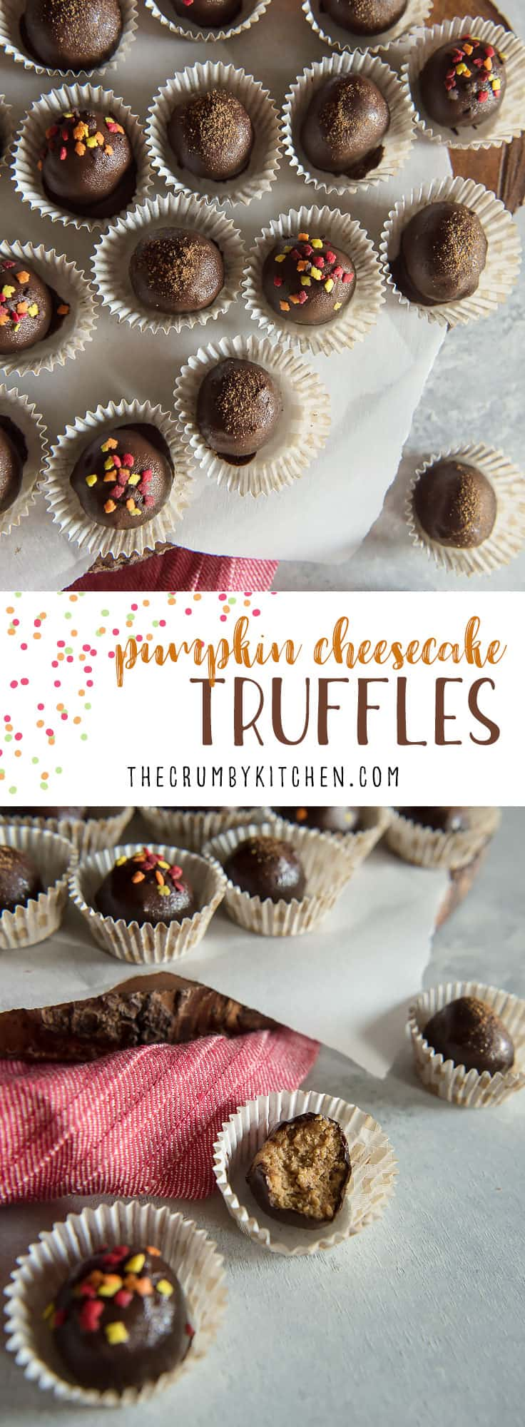 Bite-sized autumn love is found inside these dark chocolate-dipped Pumpkin Cheesecake Truffles, which make perfect party treats!