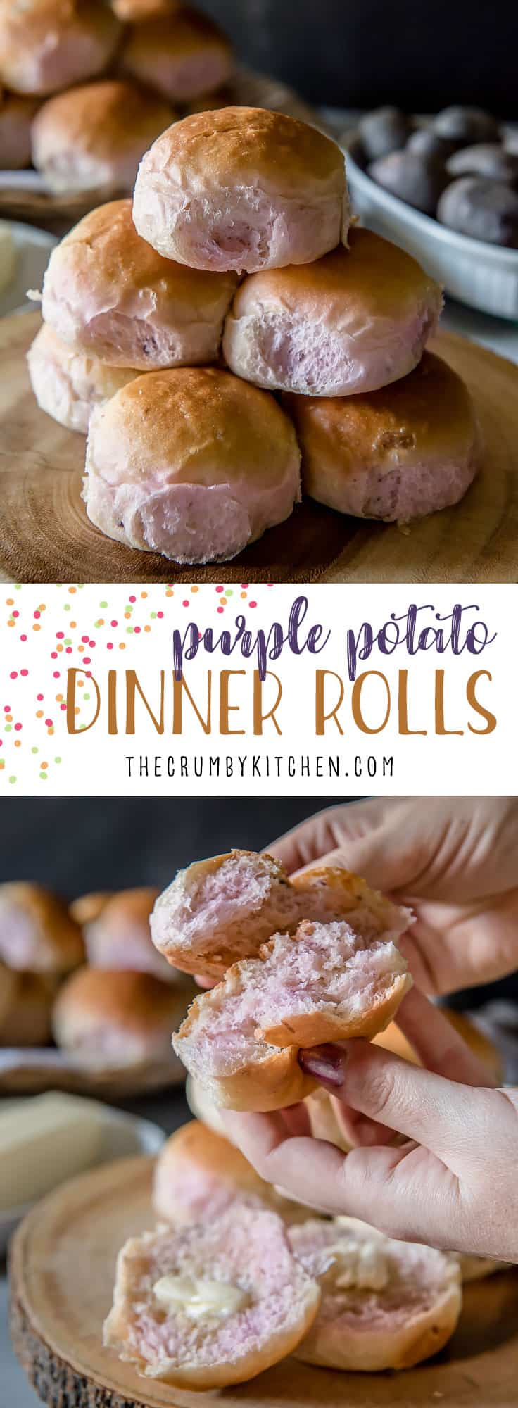 Fluffy and supremely tender, thesePurple Potato Dinner Rolls add a fun, unexpected splash of color to your table!Leftover potatoes never tasted so good!