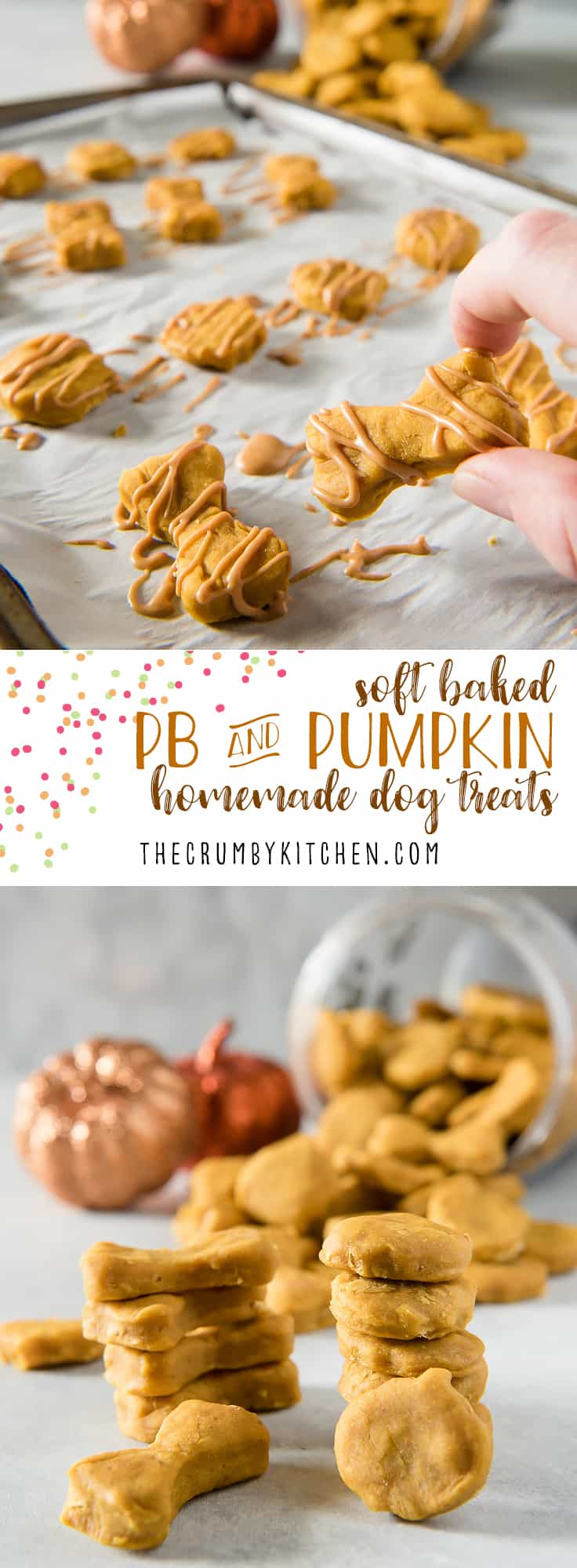 Why should humans get all the tasty fall desserts? Treat your pup to these Soft Baked Peanut Butter Pumpkin homemade dog treats and let 'em revel in the season with you!