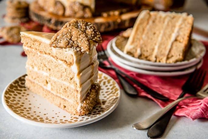 Bourbon Caramel Spice Cake slice