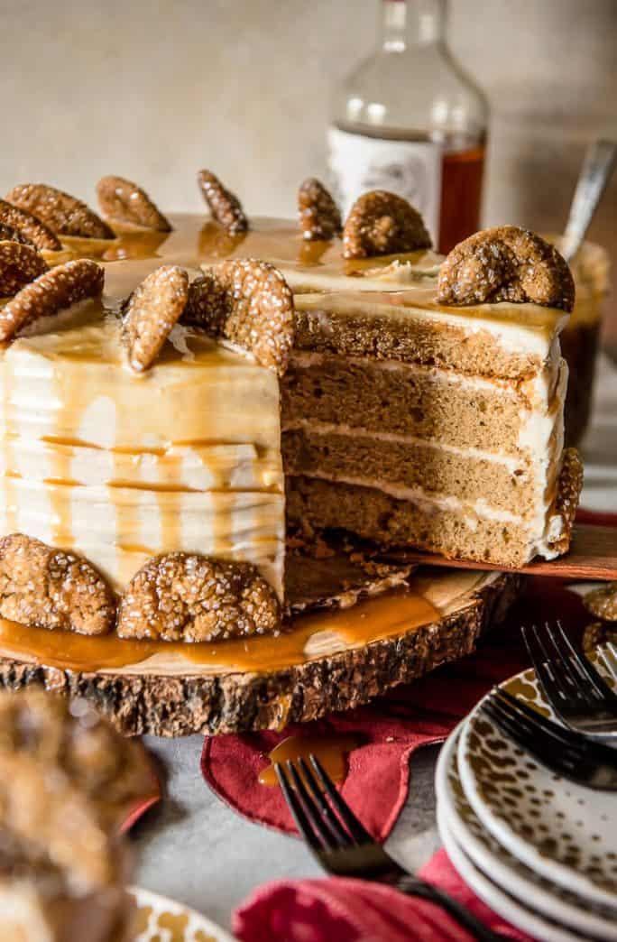 Bourbon Caramel Spice Cake cut