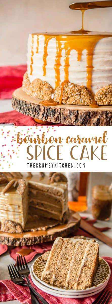 This Bourbon Caramel Spice Cake is full of fall flavors - covered with a caramel bourbon cream cheese buttercream and garnished with gingersnap cookies, it's perfect for any celebration.
