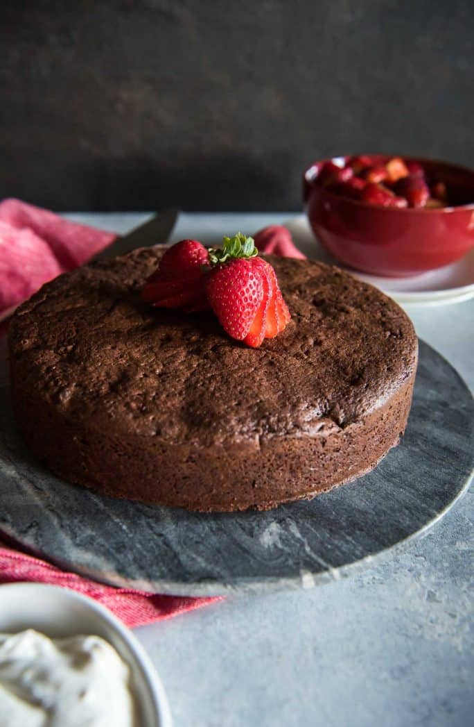 Chocolate Beet Cake with Balsamic Berries and Whipped Mascarpone whole cake