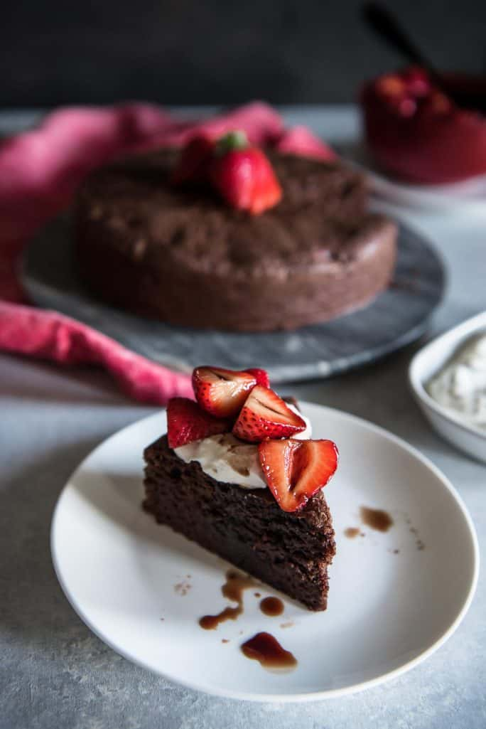 Chocolate Beet Cake with Balsamic Berries and Whipped Mascarpone slice