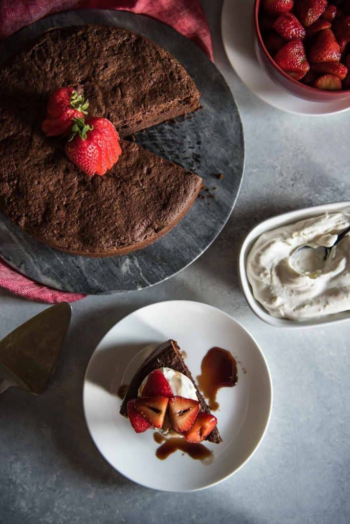 Chocolate Beet Cake with Balsamic Berries and Whipped Mascarpone flatlay