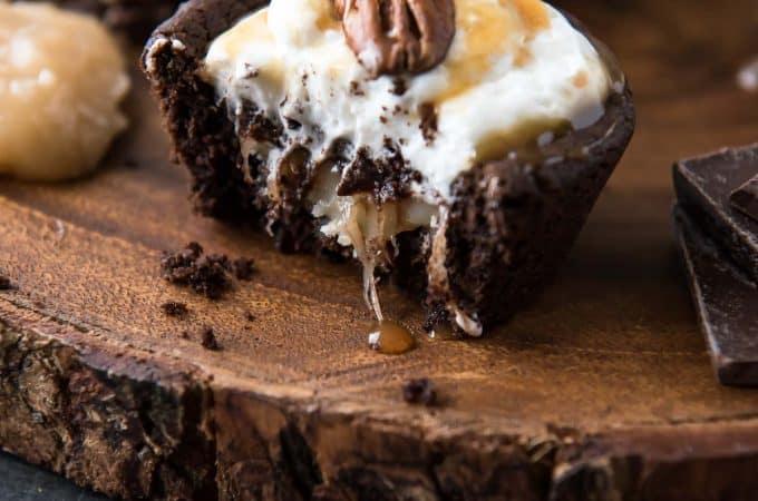 Chocolate Turtle Pie Cookie Cups bitten