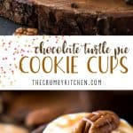 Say hello to your favorite cream pie in cookie form! These Gooey Triple-Layer Chocolate Turtle Pie Cookie Cups have a chewy chocolate cookie base, are filled with caramel and ganache, then topped with whipped cream and crunchy toasted pecans.