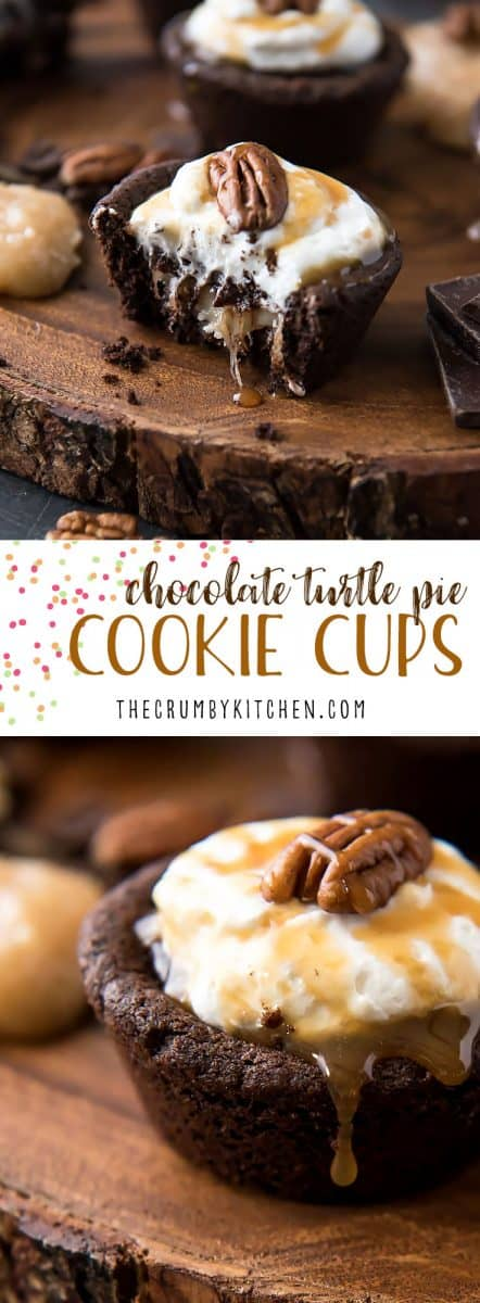 Say hello to your favorite cream pie in cookie form! These Gooey Triple-Layer Chocolate Turtle Pie Cookie Cupshave a chewy chocolatecookiebase, are filled with caramel and ganache, then topped with whipped cream and crunchy toasted pecans.