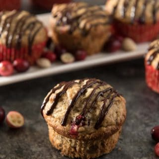 Banana Cranberry Pistachio Muffins with Chocolate Glaze #CranberryWeek