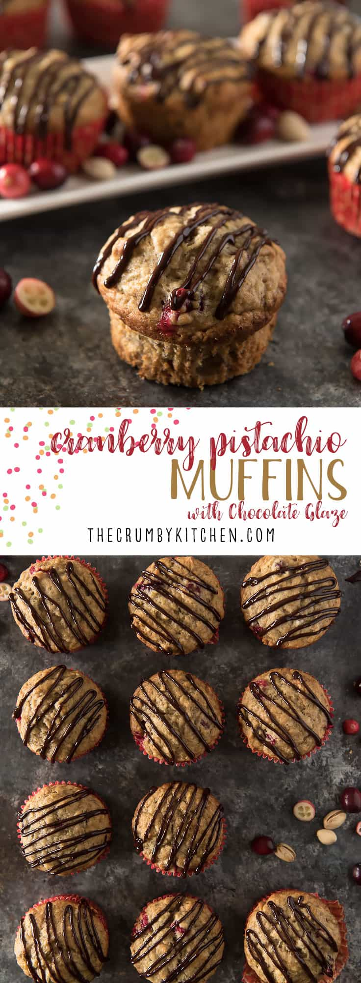 Talk about a flavor & texture overload! Be the hero your family needs and serve these Banana Cranberry Pistachio Muffins with Chocolate Glaze for every holiday breakfast!