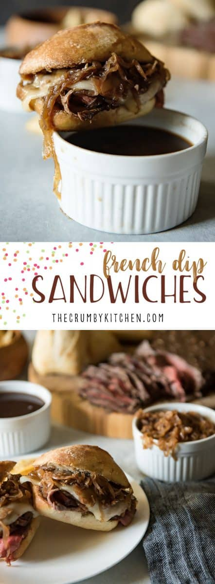 Tender & juicy London broil is the star of these French Dip Sandwiches with Caramelized Onion Au Jus, but slices from leftover holiday roasts would be equally delicious!