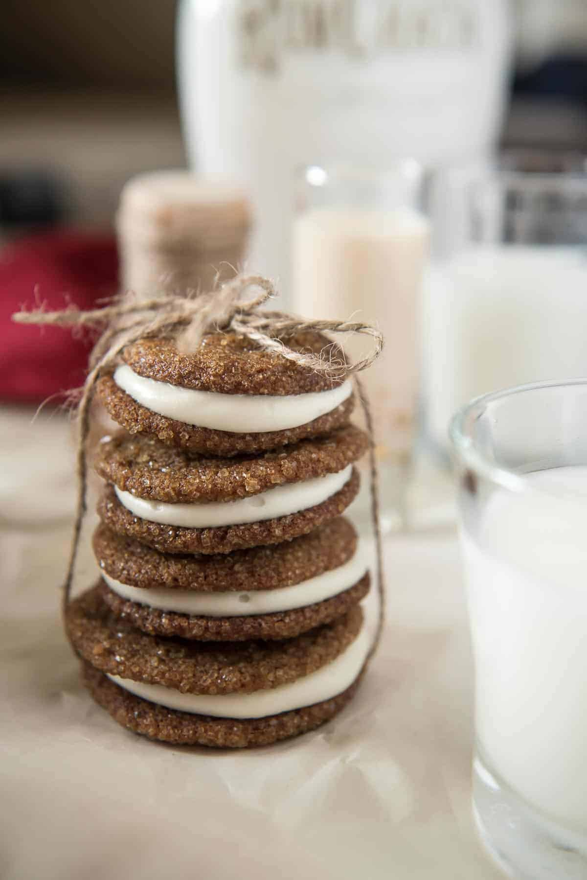 Soft & Chewy Ginger Snap Sandwich Cookies with Rum Cream Cheese