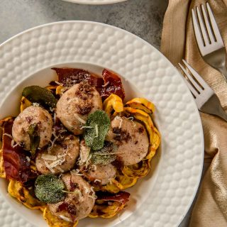Gnudi with Sage Brown Butter, Roasted Delicata Squash & Crispy Prosciutto #FabulousFallBounty
