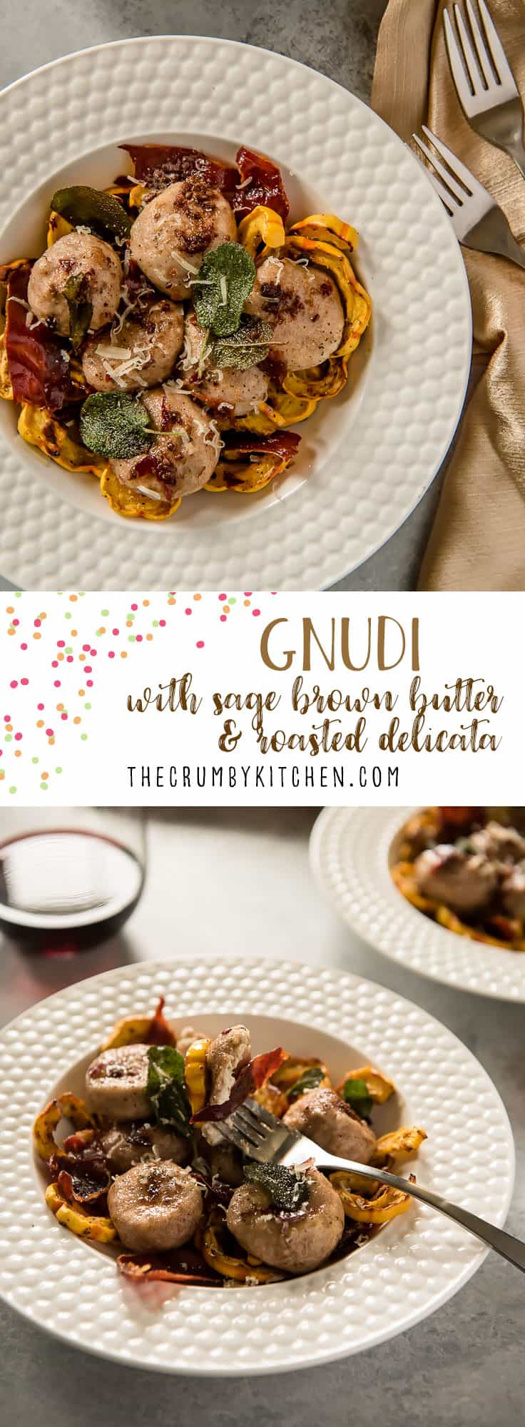 These pillowy Gnudi with Sage Brown Butter are gnocchi-like dumplings made with creamy ricotta cheese. Paired with seasonal roasted squash, herbs, and crispy prosciutto, it will be a welcome side dish on your table!