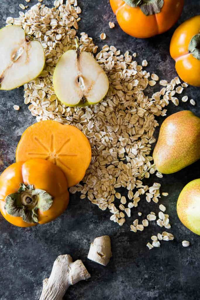 Pear Persimmon Skillet Crumble ingredients